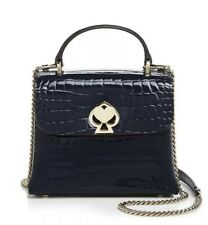 ❤️ kate spade Romy Small Blazer Blue Crocodile-Embossed Patent Leather Satchel