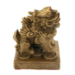Chinese Traditional Copper Feng Shui Lucky PIXIU Brave Troops Statue Decor D