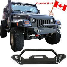 Front Bumper w/ Winch Plate 2x 18W Spotlights For Jeep Wrangler 1997-2006 TJ