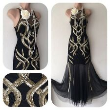 New Sequin Beaded Embellished Dress 20's Gatsby Flapper Evening Prom 10 Deco