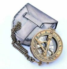 Brass Sundial Compass with Chain & Leather Case Marine Nautical Sun Clock Gift
