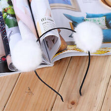 New Sweet Pom Fur Ball Furry Ears Fluffy Rabbit Fur Ball Women Headband