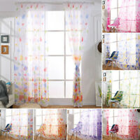 AU Love Pattern Room Tulle Window Curtain Panel Sheer Scarf Valances Net & Voile
