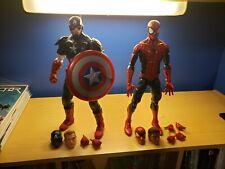 "Marvel Legends 12"" inch 1/6 Spider-Man & Captain America 2 Figure lot Avengers"