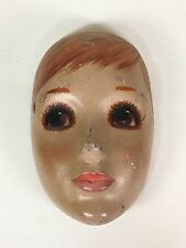 ANTIQUE/VINTAGE 1920's-1930's PAPER-ON-WOOD DOLL GIRL FACE DISPLAY DECORATION