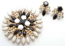 Enormous Juliana DeLizza & Elster Layered Rhinestone Brooch Earring Set Black