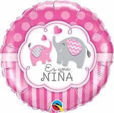 Qualatex es una Nina elefante rosado 18cm Globo de aluminio