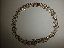 14K 2-TONE YELLOW & ROSE GOLD FANCY FILIGREE HEART FLORAL LINK BRACELET 8.1 gm