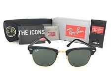 Bran-New Ray Ban Clubmaster Black Frame RB3016 W0365 51mm Green G-15 Lens