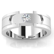 14k White Gold Wedding Ring Size 10 Mens Bands Certified 0.21Ct Natural Diamond