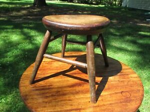 """Antique Early American 19th Century Windsor Stool 12.5"""" high"""