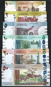 Sudan 6 Pcs Set , 1 2 5 10 20 50 Pounds , 2006 2015 , UNCIRCULATED