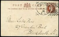 HOSTER Machine Cancel 1886 ½d Postcard Numbers in Bars without Stars