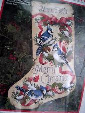 Dimensions Christmas Needlepoint Stocking Kit,BLUE JAYS,RIBBON & PINE,Birds,9091
