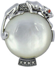 MOTHER OF PEARL PANTHER RING HALLMARKED 925 SILVER NEW FROM ARI D NORMAN