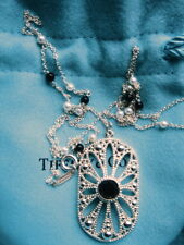 """TIFFANY & CO STERLING SILVER BLACK ONYX PEARL DAISY COLLECTION NECKLACE 24"""""""