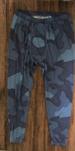Burton AK Power Grid Pant 15113 Men Blue Camouflage Base Layer Polartec Sz L New