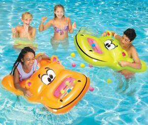BANZAI Munch Bunch Inflatable Water Game (2-Hippos Water Floating) Toy Party Flo