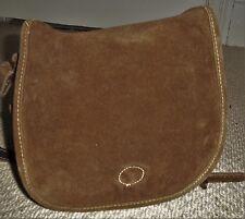 Fabulous VINTAGE Chocolate Brown Suede Leather Saddle Bag/Shoulder Bag/Crossbody
