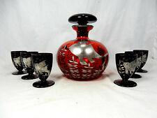 Schöne Art Déco Design Glas Karaffe mit 6 Gläsern Silberauflage silver overlay