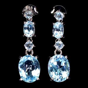 Oval Sky Blue Topaz 10x8mm 14K White Gold Plate 925 Sterling Silver Earrings