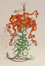 """SALVADOR DALI """"Tiger Lilies of the Theatre"""" HAND SIGNED COA Surrealistic Flowers"""
