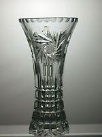 "STUNNING BOHEMIA CRYSTAL ""PINWHEEL"" CUT GLASS VASE - 8"" (20.5 cm) TALL"