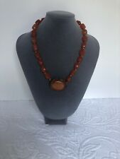 With Unusual Pendant/clasp Vintage Amber Beaded Necklace