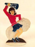 Retro Cheerleader Earring Holder Tree Revere USA Vintage Football Red White Blue