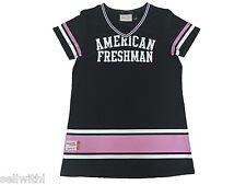 WOMEN'S AMERICAN FRESHMAN MITCHELL BASEBALL T-SHIRT -  BLACK/PINK - MEDIUM *NEW*