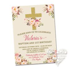10 - Gold Cross Baptism or Baby Shower Invitations Floral Pink Beautiful Unique