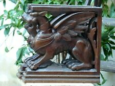 PAIR Carved Wood Gargoyle Griffin Figures Supports Cabinetry Gothic 19TH Console