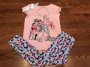 Gymboree Girls' Cityscape Dog Park, Color Heart Leggings, Hairband Necklace GYM3