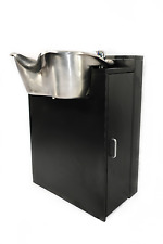 Salon Shampoo Round Brushed Stainless Bowl Black Cabinet TLC-1367-FC
