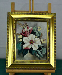 Painting. Oil. Flowers by Lydie Livezey, 1957. Framed.