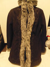 Ladies LL Bean Winter Suede Look Coat Faux Fur Embroidered Size XS Petite EUC