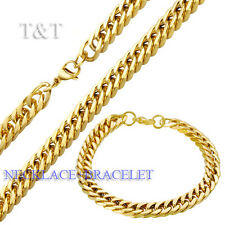 T&T 8mm 14K Gold GP 316L Stainless Steel Curb Chain Necklace with Bracelet SET