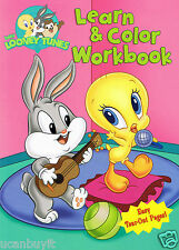 95pg BABY LOONEY TUNES Learn & Color Activity Workbook for Girls Ages 3+