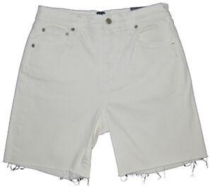 "Gap NWT Off White Denim High Rise Stretch 7"" Raw Hem Shorts 27P 4 Petite $45"