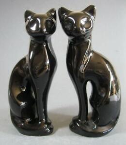 Retro/vintage 70s-80s ceramic black cat figurine x 2 (pair) extra-large 28.5cm