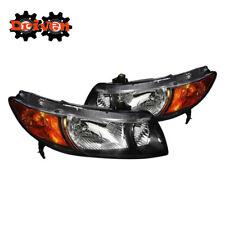 06-11 Honda Civic 2dr FA FG Coupe JD Style Black Headlights w/Amber Reflector