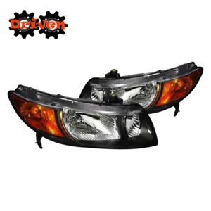 For 06-11 Honda Civic 2dr FA Coupe JD Style Black Headlights w/Amber Reflector