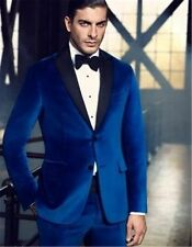 Royal Blue Men's 2 Piece Wedding Groom Tuxedos Groomsman Best Man Velvet Suits