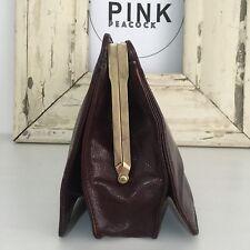 Genuine LEATHER Vintage Dark Brown Handbag CLUTCH Berdin Made in Italy
