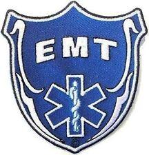 EMT Blue Shield Embroidered Medic Police Fireman MC Biker Vest Patch PAT-0589