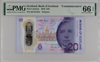 SCOTLAND 20 POUNDS 2019 BOS COMM. QC P NEW POLYMER GEM UNC PMG 66 EPQ