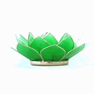 Emerald Green Capiz Shell Lotus Flower Tea Light Holder with free tea candle