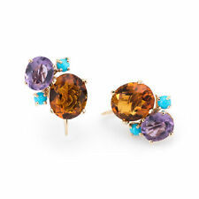 Gemstone Cluster Earrings Vintage 14k Gold Citrine Amethyst Turquoise Estate