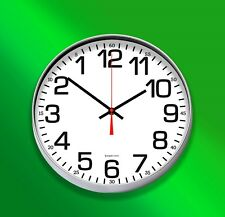 """Backwards Reverse Wall Clock Large12""""(30.5cm) Round Silver"""
