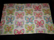Garnet Hill STD Pillow Case Pair Flannel Butterfly Butterflies White Pink Blue